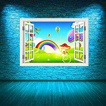 HUAXUE voller Farbe Regenbogen Fenster Wandkunst