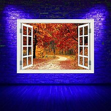 HUAXUE Vollfarbiger Herbst Wald Wald Fenster