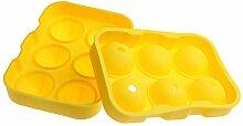 HuaYang 4,5 cm Sechs Rundkugeln Eiswürfel Eisform mit Abdeckung Gelb
