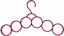 HuaYang 6 Ringe Rund Multifunktionstuch Gurt Riegel Krawatte Rack Behälter Aufhänger - Pink