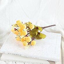 HUAYIFANG Die Simulation dauert 15 Kopf herbst Mini 7 Farbe silk Blumen Blume Knospe star Simulation Heimtextilien Dekoration, gelb