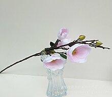 HUAYIFANG Emulation Magnolia 3 Kopf Yu Lan Emulation Emulation Magnolia Flower Seide Blumen Dekoration Blumen Stock In Einem Blassen Rosa Stücke Der Werke Eingerichtet.