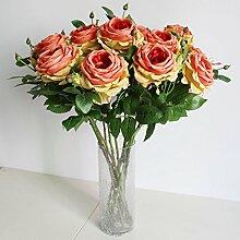 HUAYIFANG Heimtextilien Ornamente Mit Zwei Rose Blume Simulation Simulation Pflanze, Orange Gelb