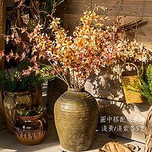 HUAYIFANG Indoor Blume Dekoration Im Wohnzimmer Mit Deckenhohen Dekoriert Mit Floralen Swing Stück Gefälschte Blumen Tv-Schrank Emulation Orchidee Gelb