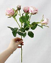 HUAYIFANG Rose Rose Blumen Ganzjährig Blühenden Simulation Heimtextilien Dekoratives Plant Simulation, Blass Rosa Fühlen