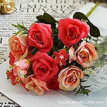 HUAYIFANG Royal rose Blumen Blumen simulation Heimtextilien Dekoration Simulation Bouquet, Rot 7