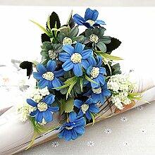 HUAYIFANGBlume Chrysantheme Blumen Heimtextilien Persischen Handmade Diy Blumiges Bouquet, Navy Blue
