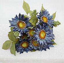 HUAYIFANGDie Herbstsonne Sonnenblume Blume Dekoration Eine Menge Haus Einrichtung Zu Verbringen, Herbst Blau