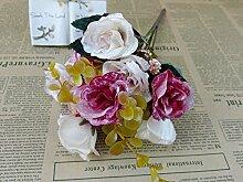 HUAYIFANGDie Simulation Heimtextilien Dekoration Dekorative Blumen Künstliche Blumen, Rosa