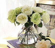 HUAYIFANGHeimtextilien Rose Hochzeit Dekoration Simulation Blume Blumen Künstliche Blumen, Grün