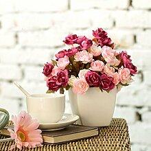 HUAYIFANGHochzeit Dekoration Blumen Bunte Rose Tea Rose Huashan Simulation Simulation Heimtextilien Dekoratives Blume, Rosa