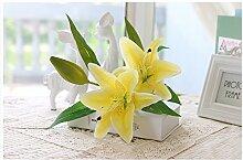 HUAYIFANGHohe Imitation Griff Lily Lily Blumen Heimtextilien Simulation Der Wohnzimmer Dekoration Blumen, Lange Stange Gelb