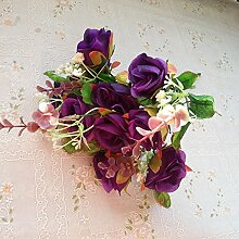 HUAYIFANGKleine Kaffee Tisch Blume Blume Rose Blumen Blumen Blumen Heimtextilien, Feder Lila
