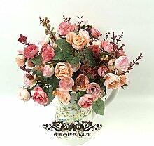 HUAYIFANGKünstliche Blumen Kleine Blumen Dekoration Hochwertige Heimtextilien Rose Rose Kleine Simulation, Rosa