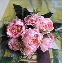 HUAYIFANGMini Pfingstrose Simulation Seidenblumen Farbige Wohnzimmer Blumen Heimtextilien, Rosa