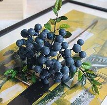 HUAYIFANGSingle Acacia Simulation Schaum Obst, Simulation Simulation Blume Pflanze Blume Anordnung Zubehör, Blau