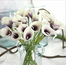 HUAYIFANGTabelle Heimtextilien Simulation Dekorative Vase Farbe Calla Blume, Lila Herz Weiß