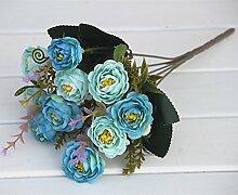 HUAYIFANGTea Rose Blumen Blumen Blumen Dekoration Des Wohnzimmers Heimtextilien Simulation, Blau