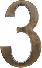 HUBER Hausnummer Nr. 3 Messing antike 20 cm, edles