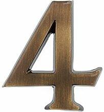 HUBER Hausnummer Nr. 4 Messing antike 10 cm, edles