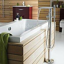 Hudson Reed Freistehende Wannenarmatur - Thermostatische Armatur für Freistehende Badewannen aus Verchromtem Messing - Mit Handbrause und Wasserfall-Einlauf - Anti-Kalk System - Modernes Design