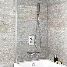 Hudson Reed Waterfall Wannenarmatur - Badewannenarmatur mit Wasserfall-Auslauf mit Unterputzarmatur und Handbrause in Chrom