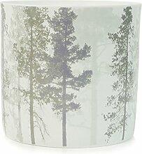 Hübsch Windlicht mit Baummotiv, Porzellan, Weiß,
