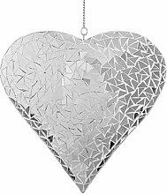 Hübsche Großes Silber Mosaik Spiegel Herz