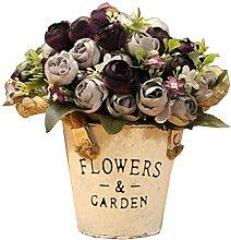 Hübsche künstliche Blumen Seide Blumen gefälschte Blumen mit Korb Lila