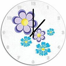 Hübsche lila Blumen Weiß, Wanduhr Durchmesser 48cm mit schwarzen spitzen Zeigern und Ziffernblatt, Dekoartikel, Designuhr, Aluverbund sehr schön für Wohnzimmer, Kinderzimmer, Arbeitszimmer