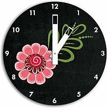 Hübsche rosa Blume Schwarz, Wanduhr Durchmesser 30cm mit weißen eckigen Zeigern und Ziffernblatt, Dekoartikel, Designuhr, Aluverbund sehr schön für Wohnzimmer, Kinderzimmer, Arbeitszimmer