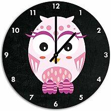 Hübsche rosa Eule Schwarz, Wanduhr Durchmesser 48cm mit schwarzen spitzen Zeigern und Ziffernblatt, Dekoartikel, Designuhr, Aluverbund sehr schön für Wohnzimmer, Kinderzimmer, Arbeitszimmer