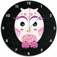 Hübsche rosa Eule Schwarz, Wanduhr Durchmesser 48cm mit weißen spitzen Zeigern und Ziffernblatt, Dekoartikel, Designuhr, Aluverbund sehr schön für Wohnzimmer, Kinderzimmer, Arbeitszimmer
