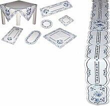 hübsche TISCHDECKE 12x160 cm oval Weiß ZWIEBELMUSTER blau KÜCHE Esszimmer Eleganz MADE IN GERMANY (Tischband 12x160 cm)