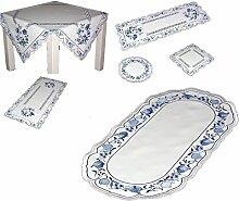 hübsche TISCHDECKE 23x46 cm oval Weiß ZWIEBELMUSTER blau KÜCHE Esszimmer Eleganz MADE IN GERMANY (Deckchen 23x46 cm oval)