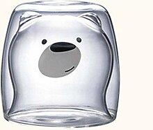 Hübscher Becher mit Panda Doppelschicht-3D-Glas