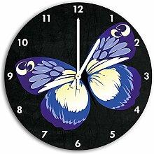Hübscher blauer Schmetterling Schwarz, Wanduhr Durchmesser 30cm mit weißen spitzen Zeigern und Ziffernblatt, Dekoartikel, Designuhr, Aluverbund sehr schön für Wohnzimmer, Kinderzimmer, Arbeitszimmer