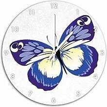 Hübscher blauer Schmetterling Weiß, Wanduhr
