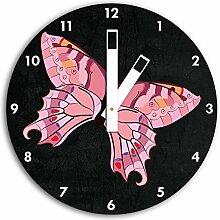 Hübscher pinker Schmetterling Schwarz, Wanduhr