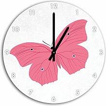 Hübscher rosa Schmetterling Weiß, Wanduhr