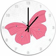 Hübscher rosa Schmetterling Weiß, Wanduhr Durchmesser 48cm mit schwarzen spitzen Zeigern und Ziffernblatt, Dekoartikel, Designuhr, Aluverbund sehr schön für Wohnzimmer, Kinderzimmer, Arbeitszimmer
