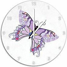 Hübscher Schmetterling Weiß, Wanduhr Durchmesser