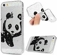 Hülle iPhone 5S, Crystal Glitzer Design Crystal Glänzende Soft Flex Premium TPU Silikon Bumper Handyhülle Perfekte Passform Schutzhülle Case Cover für iPhone 5/5S/SE Panda