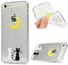Hülle iPhone 5S, Crystal Glitzer Design Crystal Glänzende Soft Flex Premium TPU Silikon Bumper Handyhülle Perfekte Passform Schutzhülle Case Cover für iPhone 5/5S/SE Katze