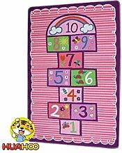 Hüppekästchen Rosa Kinder Teppich Schlafzimmer Mädchen Kinder Teppich Mädchen Schlafzimmer Spielzimmer Spielteppich Schule Klassenzimmer Learning Carpet Educational Teppich mit Rutschfeste Unterseite