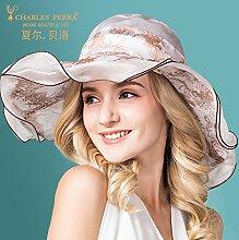 Hüte Sommer weibliche koreanische Sonnenschutz große entlang der Seide hüte Ausgeklappt kann Sun Hüte, M (56-58 cm).