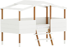 Hüttenkinderbett mit Lattenrost, weiß, 90x190 cm