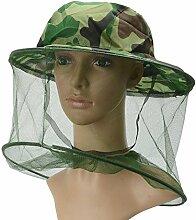 HugeStore Camouflage Imker Hut Bienenzucht Gesichtsmaske Moskito Kopfnetz Kopfschutz Insektenschutz Mückenschutz Grün