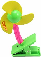 HugeStore Tragbarer Ventilator Fan Miniventilator für Baby Kinderwagen Gelb