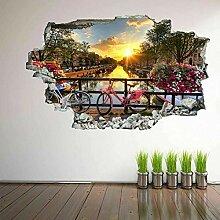 HUGF Wandtattoo Bike Sunset Flower 3D Wandkunst